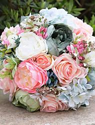 Fleurs de mariage Bouquets Cérémonie de mariage Mousseline de soie Perle Env.23cm