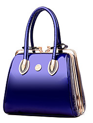 Women Tote PU Patent Leather All Seasons Wedding Event/Party Casual Formal Office & Career Shell Kiss Lock Red Black Blue