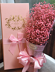 Baby's Breath Valentine's Mother's Day Party Favors & Gifts Artificial Flower Satin Pink Floral Theme Floral with Gift Box