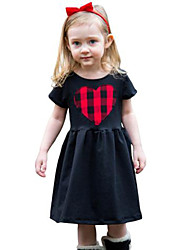 2017 Girl's Solid Dress Cotton Spring Summer Short Sleeve Checks Heart Baby Girls Dresses Fashion Kids Clothes