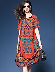 Women's Going out Casual/Daily Vintage Simple Chinoiserie Loose Dress,Print Round Neck Knee-length Short Sleeves Silk Polyester Summer