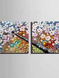 Mini Size E-HOME Oil painting Modern The Fragrance Of Flowers Pure Hand Draw Frameless Decorative Painting Set of 2
