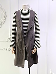 Women's Casual/Daily Vintage Spring Fall Tank Top Pant Suits,Striped Round Neck Long Sleeve