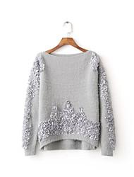 Standard Pullover Da donna-Per uscire Casual Semplice Tinta unita Con stampe Rotonda Manica lunga Lana Cotone Primavera AutunnoSottile