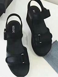Women's Sandals Comfort Fabric Summer Casual Comfort Light Brown Black 2in-2 3/4in