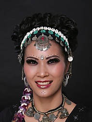 Belly Dance Headpieces Women's Performance Shell Sequined Metal and Vintage Silver Coins Sequins 1 Piece Bohemian Theme Headwear