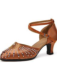 "Women's Modern Satin Heels Indoor Rhinestone Splicing Customized Heel Ruby Brown 2"" - 2 3/4"" Customizable"