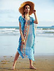 Femme Bohème Robes Légères Aux s Géometrique Sans Armature Licou Mousseline de soie