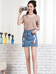 Women's Casual/Daily Above Knee Skirts A Line Print Summer