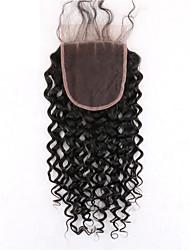 1 Stück drei Teil 4x4 brasilianischen tiefe lockige Spitze Verschluss Haar rohe reine remy Haar gebleicht Knoten Top Verschlüsse