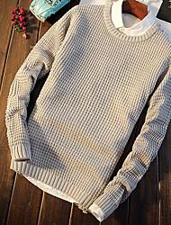 Standard Pullover Da uomo-Quotidiano Casual Tinta unita Rotonda Manica lunga Cotone Maglia Primavera Autunno Medio spessoreMedia