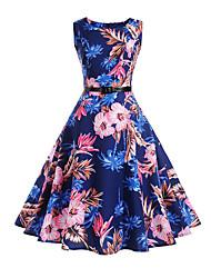Feminino Bainha balanço Vestido,Feriado Casual Trabalho Vintage Simples Floral Decote Redondo Altura dos Joelhos Sem MangaAlgodão