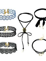 Women's Choker Necklaces Pendant Necklaces Statement Necklaces Euramerican Fashion Simple Style Metal Alloy Lace Chrome Geometric For