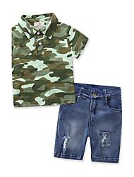 Boys' Camouflage Cotton POLO shirt Sets Denim Summer Short Pant Clothing Set Cowboy Pants Clothes Suit