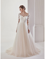 A-line Wedding Dress - Chic & Modern Elegant & Luxurious See-Through Open Back Court Train Scoop Lace Tulle with Lace