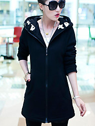 Women's Casual/Daily Hoodie Solid Hooded Inelastic Polyester Long Sleeve Winter