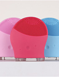 Makeup Deep Pores Cleaning Electric Waterpoof Silicone Sonic Vibration Facial Wash Brush Cleaner Cleanser Beauty Massager Color Random