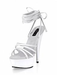 Mujer Sandalias Zapatos formales PU Verano Vestido Fiesta y Noche Con Cordón Tacón Stiletto Blanco Negro 12 cms y Más