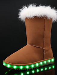 Mädchen Stiefel Schneestiefel Leuchtende LED-Schuhe Nubukleder Winter Normal Kleid Flacher Absatz Schwarz Grau Braun Rosa Flach