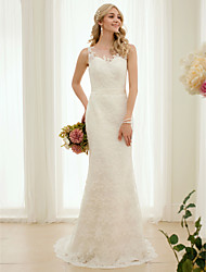 Mermaid / Trumpet Illusion Neckline Sweep / Brush Train Lace Wedding Dress with Appliques Sashes/ Ribbons by LAN TING BRIDE®