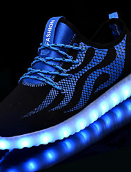 Unisex Sneakers Light Up Shoes Tulle Net Fall Winter Casual LED Low Heel Blue/Black Black/White Under 1in