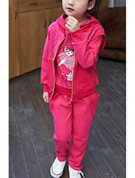 Girls' Solid Sets,Polyester Winter Clothing Set