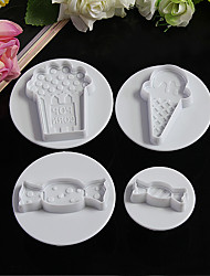 4Pcs Ice Cream And Candy Plastic Plunger Cutter Cookie Mold Embossing Cake Decorating Tool Cake fondant mold Cartoon DIY