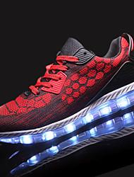 Homme Chaussures d'Athlétisme Confort Polyuréthane Printemps Automne Athlétique Marche Lacet LED Talon Plat Gris Noir/Rouge Bleu royal