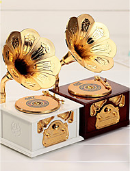 1PC Color Random Creative Phonograph Model Music Desktop Decoration Of A Retro Box