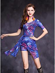Dança do Ventre Vestidos Mulheres Apresentação Fibra Sintética Elastano Frente Dividida 1 Peça Manga Curta Natural Vestidos