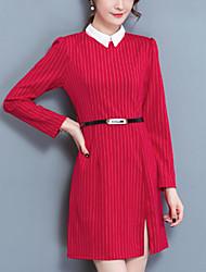 Women's Slim chic A Line Dress Striped Patchwork Split Shirt Collar Mini Long Sleeves Fall Mid Rise Inelastic Medium