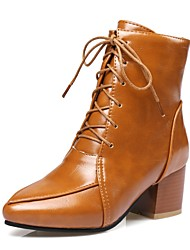 Women's Boots Fashion Boots Fall Winter Leatherette Casual Dress Lace-up Chunky Heel Yellow Beige Black 1in-1 3/4in
