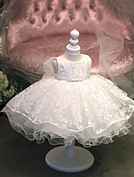 принцесса длиной до колен цветок девушка платье - хлопок тюль жемчужина шеи с кружевами стразы baihe