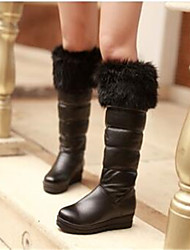 Women's Boots Comfort PU Fall Winter Casual Comfort Black White 3in-3 3/4in