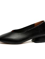Women's Oxfords Comfort PU Spring Summer Casual Low Heel Black Beige Light Brown Under 1in