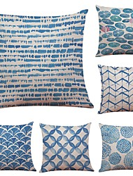 Set of 6 Chinese Ink Blue Linen Cushion Cover Home Office Sofa Square Pillow Case Decorative Cushion Covers Pillowcases (18*18Inch)