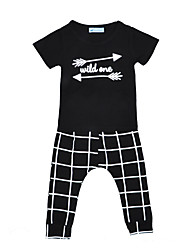 Baby Boy's Cotton Casual/Daily Plaid/Check Geometic Print Clothing Set Spring/Fall Summer Wild One Kids Clothes set