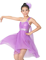 MiDee Ballet Dresses Women's / Children's Performance Spandex / Polyester / Sequined Flower(s) / Sequins / Splicing 2 Pieces Sleeveless Natural