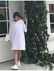 Damen Solide Einfach Lässig/Alltäglich T-shirt,Mit Kapuze Kurzarm Baumwolle