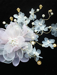 Tulle Chiffon Imitation Pearl Fabric Silk Net Headpiece-Wedding Special Occasion Birthday Party/ Evening Flowers Hair Clip 1 Piece