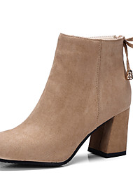 Women's Shoes Chunky Heel Pointed Toe Lace Up Ankle High Boot With Zipper More Color Available