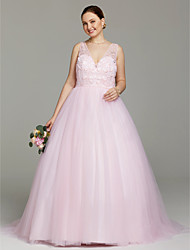 Ball Gown V-neck Sweep / Brush Train Tulle Wedding Dress with Beading Crystal Detailing by LAN TING BRIDE®