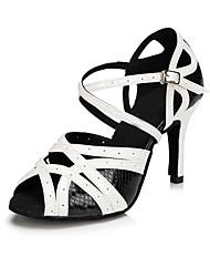 Damen Latin Leder Sandalen Innen Maßgefertigter Absatz Schwarz/Weiß