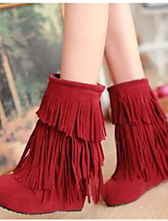 Women's Boots Comfort PU Fall Winter Casual Comfort Ruby Black 4in-4 3/4in