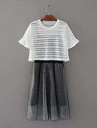 Women's Going out Simple Summer Fall Blouse Skirt Suits,Solid One Shoulder ½ Length Sleeve Micro-elastic