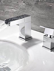 Modern/Comtemporary Basic Widespread Waterfall High Quality with  Ceramic Valve Single Handle Dual Holes for  Chrome  Finish Bathroom Sink Faucet