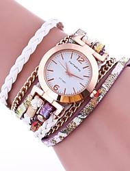 Жен. Модные часы Часы-браслет Китайский Кварцевый PU Группа Винтаж Повседневная Элегантные часы Черный Белый Синий Красный Коричневый