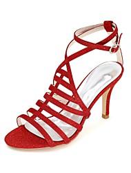 Для женщин Свадебная обувь Босоножки Обувь через палец Весна Лето Лак Свадьба Для вечеринки / ужина На шпилькеЗолотой Черный Серебряный