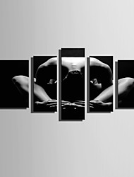 E-HOME Stretched Canvas Art Beautiful Lines Of Human Body Decoration Painting Set Of 5