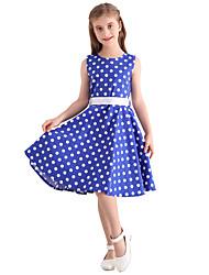 Girl's Blue White Polka Dot Vintage Inspired Sleeveless 50s Rockabilly Swing Dress Cotton All Seasons